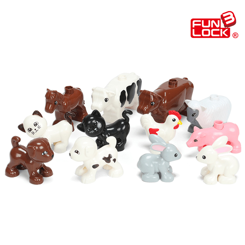 Funlock Duplo Blocks Toys Farm Animal Figures Bunny Cat Dog Cow Pony Pig Sheep Rooster Educational Toys For Kids Gifts new lps lovely toys animal cartoon cat dog action figures collection kids toys gifts
