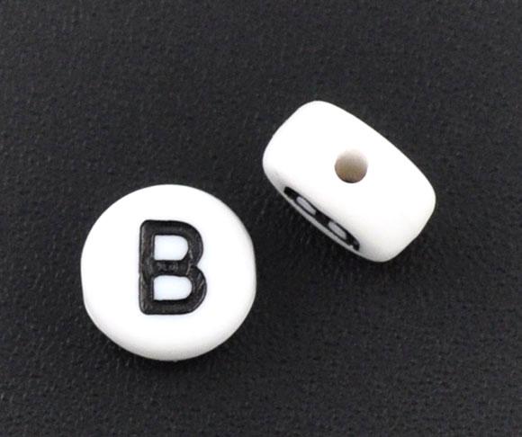 DoreenBeads акриловые разделительные бусины плоские круглые белые буквы узор около мм 1,0 шт. мм (1/8 «) Диаметр, отверстие: около 3,6 мм, 60 шт. новинка 2015
