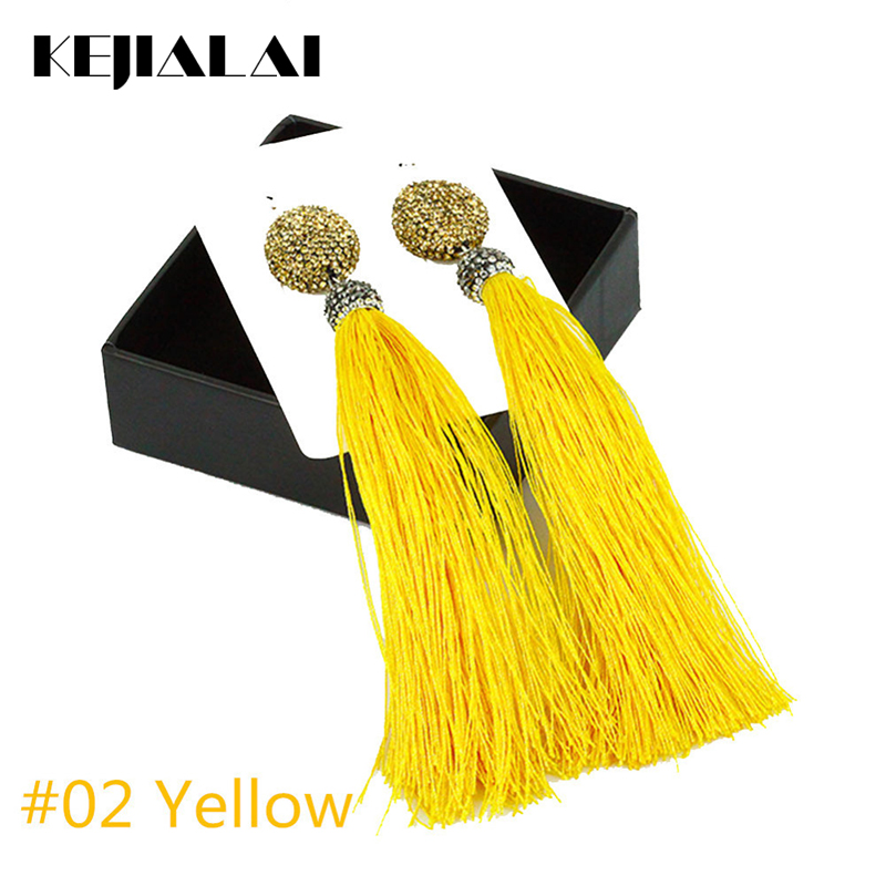 Vintage Style Jewelry Braide Pendant Earrings Pave Rhinestone Stud Long Tassel Earrings for Women Wedding Colorful Fabric Ribbon