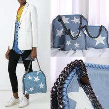 2016 real picture factory outlet Denim white star new handbag new list 3 chain  lady handbag shoulder bag