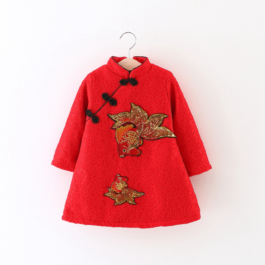 Newborn baby girl dress Children 's clothing new girls red cheongsam plus velvet girls dresses female baby New Year costume 616