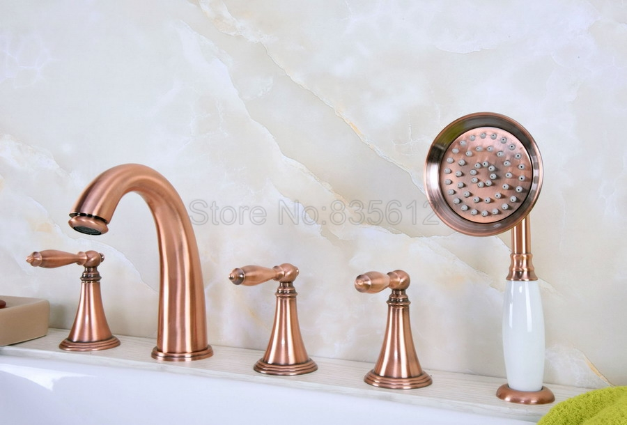 Antique Red Copper 5pcs Bathroom Tub Sink Faucet with Hand Shower Deck Mounted 5 Holes Three Cross Handles Bathtub Taps ttf203 noc hp1024 2md nemicon encoder