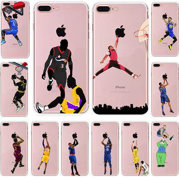 Coque Ultra Slim Silicone Soft Slim Transparent Cover Sport Nba Basketball Star Case For iphone X XS Max XR 6 6s 7 8 Plus Case marvel glass iphone case