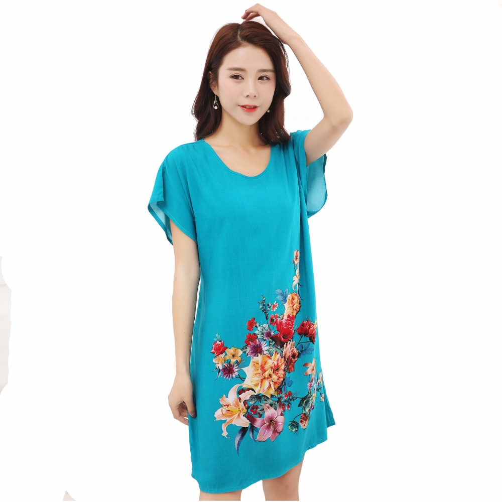 Lady Blue Cotton Soft Nightgowns Sleepwear Chinese Style Print Women's Nightdress Flowers Night Dress Home Wear One Size SG051