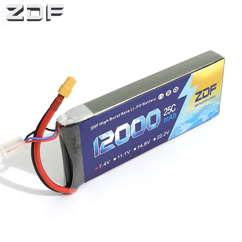 ZDF 12000mAh 7.4V 2S 25C RC Lipo Battery For Helicopter S1000 Drone FPV UAV Car Boat Drone image