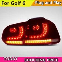 רכב סגנון עבור גולף 6 פנסים אחוריים 2008 2009 2010 2012 2013 Led טאיליט עבור R20 עבור MK6 אחורי אור תקע ולשחק עיצוב חזרה מנורה