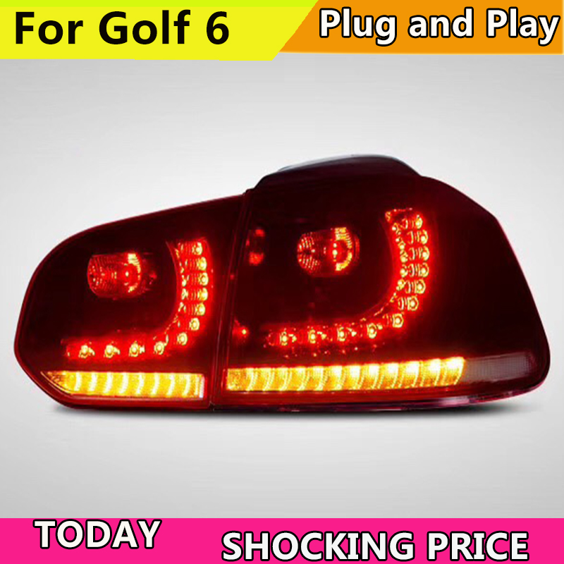 Car Style For Golf 6 Taillights 2008 2009 2010 2012 2013 Led Taillight for R20 for MK6 Rear Light Plug and Play Design back lamp 1 pc outer rear tail light lamp taillamp taillight rh right side gr1a 51 170 for mazda 6 2005 2010 gg