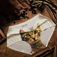 2016 HOT SALE Pink Sexy Underwear Women Control Panty 3D Cats Culotte Sexy Panties Printing Seamless Briefs Cute Intimates