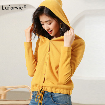 Lafarvie Spring Autumn Plus Size Knitted Hooded Cardigan Sweater Women Long Sleeve Casual Sweater Female Solid Color Oversize sweet solid color collarless long raglan sleeve cardigan for women