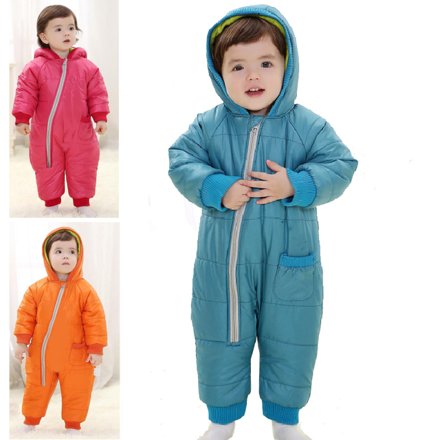 b2ab4cad2064 Winter Thick Baby Romper Snowwear Cotton Padded Jacket Clothing Kids ...