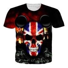 Crânio T Camisa Dos Homens Mulheres Esqueleto 3d T-shirt Da Bandeira REINO  UNIDO Tshirt Gótico camisas Tee Do Punk Rock Do Vinta. 709ecd23d0bd8