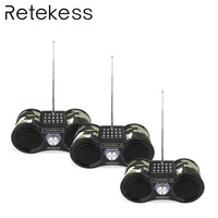 3 pcs RETEKESS Camouflage Stereo FM Radio USB/TF Card With Speaker MP3 Music Player With Remote Control Receiver Radio F9203M
