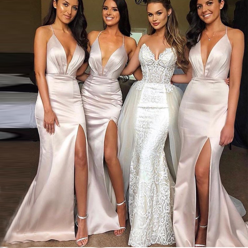 Sexy Mermaid   Bridesmaid     Dress   Deep V-neck Nude Color Long Bride Maid Of Honor Party   Dress   Front Split Satin Wedding Party   Dress