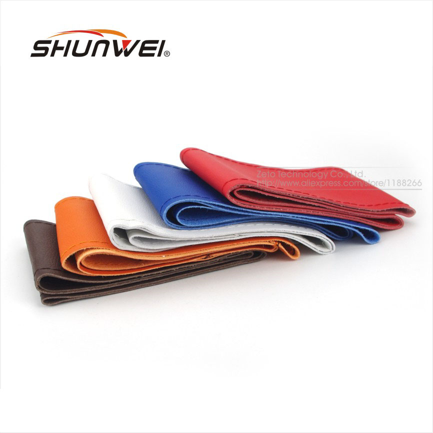 5 Colors DIY Leather Sport Car Steering Wheel Cover Auto Car Stitch Styling On Wrap Cover WIth Needles Thread For Diameter 38cm