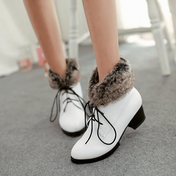 2014 winter sexy low heel women snow boots women s Lace up casual snow boots real