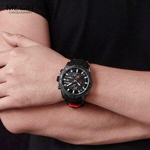 Image 5 - MEGIR Mens Fashion Sports Quartz Watches Luminous Silicone Strap Chronograph Analogue Wrist Watch for Man Black Red 2055G BK 1