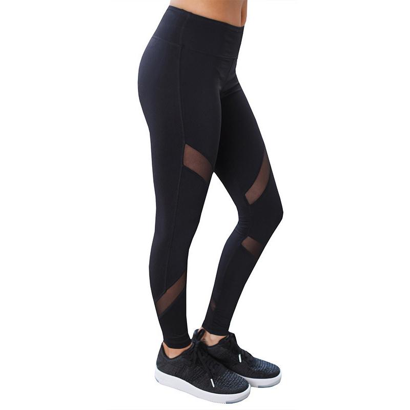 CHRLEISURE Sexy Women Leggings Gothic Insert Mesh Design Trousers Pants Big Size Black Capris Sportswear New Fitness Leggings 10