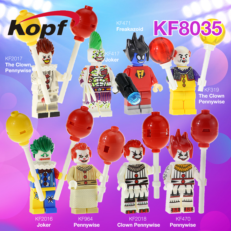Single Sale Super Heroes Freakazoid Figures The Clown Pennywise Redux Joker With Balloon Building Blocks Kids Gift Toys KF8035