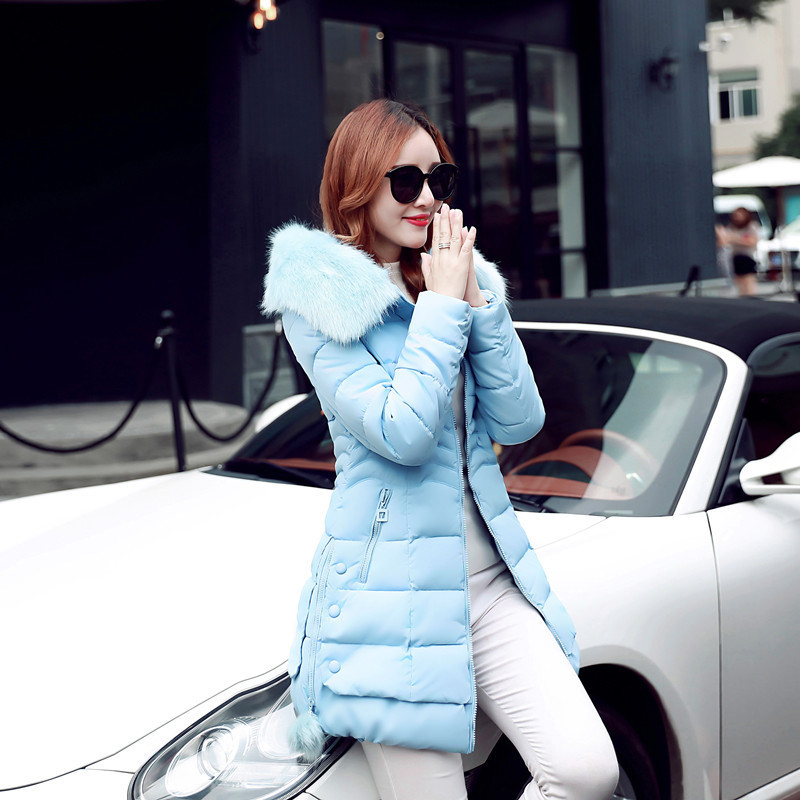 ФОТО 2016 winter new women's long-hooded version of the   hooded cotton-padded waist Slim waist thickening jacket down jacket