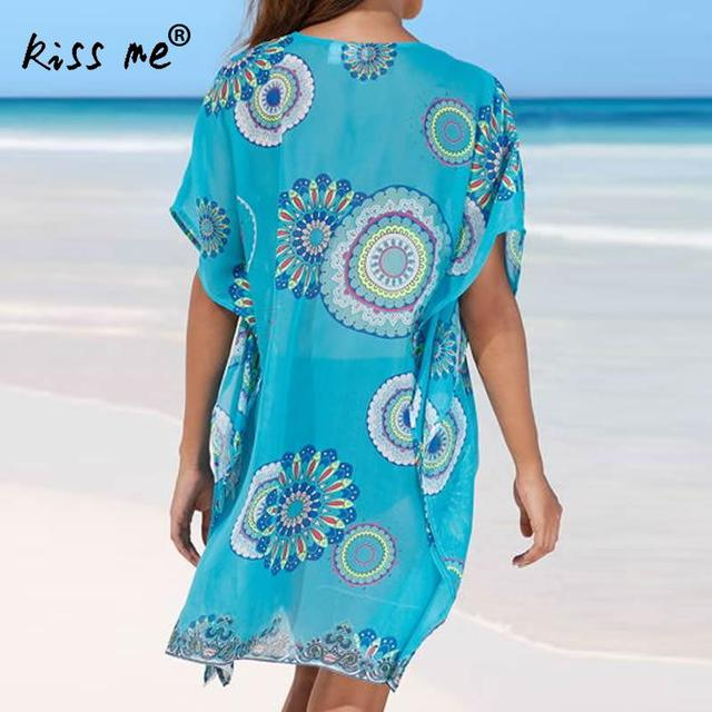 Beach Cover Up vintage bohemian beach dress woman Chiffon Tunic dress floral printed swimsuit cover up Summer blue bathing suit 3