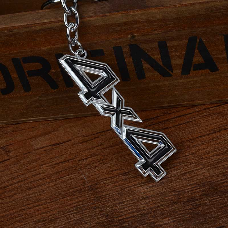 MAYITR Car Metal 4x4 Logo Key Chain Black Badge Emblem Key Ring Keyfob For Fiat BMW