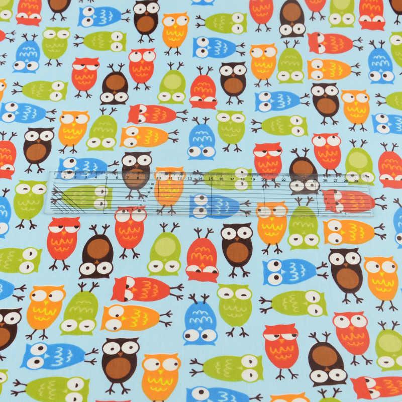 Telas Teramila con diseño de búhos azules, tela de algodón para Patchwork, costura, artesanía, ropa de cama, decoración, tejido para el hogar, bonito pájaro