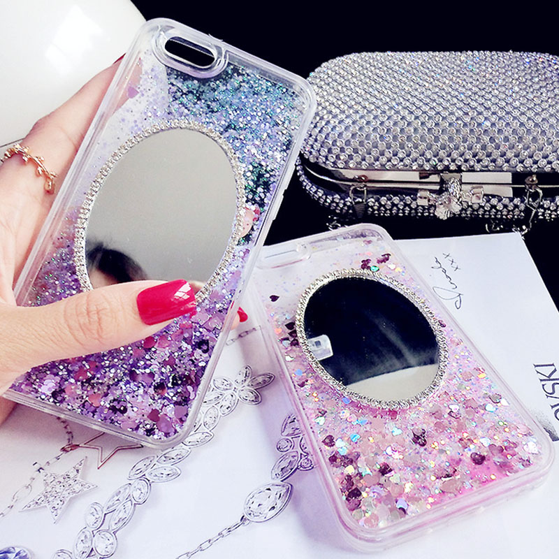 Luxury 3D Diamond Mirror Case for iPhone 7 Cases Glitter Rhinestone TPU Phone Cases Cover For iPhone 7 Case 4.7 Silikon Cover