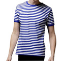 Hot sale 2017 New Summer Fashion Men's Short Sleeve Stripe T Shirt Casual Male O-neck Sailor Tops Navy T-Shirt Free Shipping