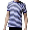 Venda quente 2017 Novos homens de Moda Verão Curto Tarja Manga T Camisa Casual Masculino O-pescoço Marinheiro da Marinha Topos T-Shirt Livre grátis