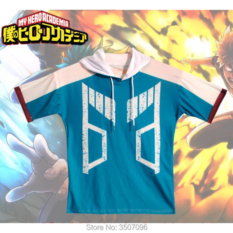 My Hero Academia Cosplay T Shirt Japan Anime Boku no Hero Shirts With Hooded Tops Kohei Horikoshi Unisex Summer Tee Sweatshirt