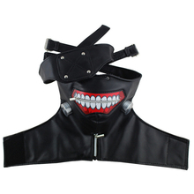 High Quality Clearance Tokyo Ghoul 2 Kaneki Ken Mask Adjustable Zipper Masks PU Leather Cool Mask Blinder Anime Cosplay Headwear