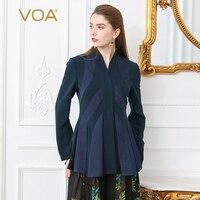 VOA жаккардовые шелковые офисный костюм пальто Для женщин приталенная повседневная куртка формальные верхняя одежда с длинным рукавом Туни