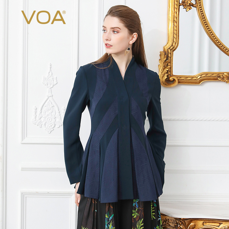 VOA Jacquard Silk Office Suit Coat Women Slim   Basic     Jacket   Formal Outerwear Long Sleeve Tunic Business Ladies Female Spring W105