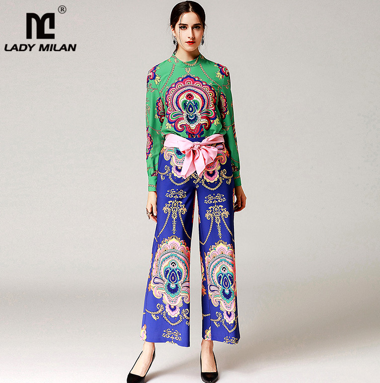 New Arrival Womens O Neck Long Sleeves Printed Blouse Floral Loose Pants Sash Bow Belt Fashion Twinsets