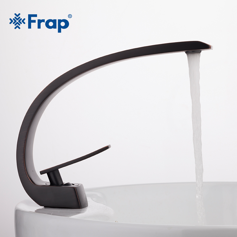 FRAP 2018 new Innovative black brass Bathroom Basin Faucet Cold and Hot Water mixer Taps antique bath sink taps mixer yF10004 wholesale and retail swan bathroom sink faucet solid brass hot and cold water taps antique brass