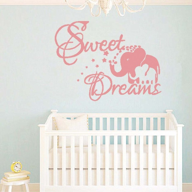 Sweet Dream Quotes Elephant Wall Stickers Nursery Room Decorations Cartoon Animal Letter Diy Bedroom Decals Mural