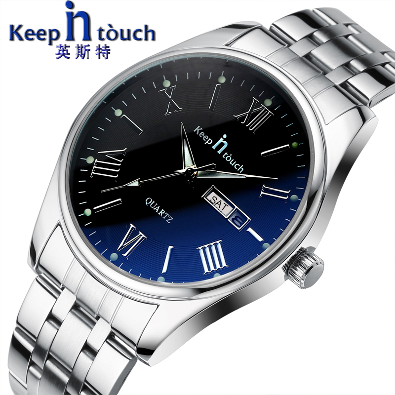 KEEP In Touch Men's Quartz Wristwatches Luminous Hands Business Calendar Watch Men Stainless Steel Waterproof Relogio Masculino
