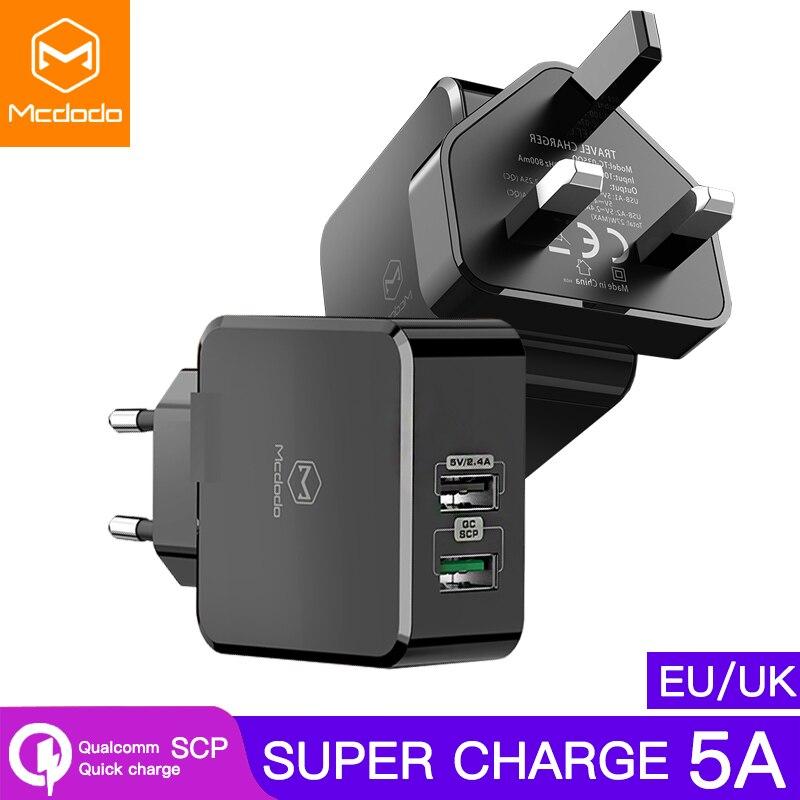 Mcdodo UE/UK Adaptador USB Carregador SCP 5A Super Rápido carregamento Para HUAWEI Companheiro P30 20 pro Telefone Móvel carregador xiaomi VOOC para OPPO