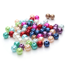 Free Shipping 100pcs/lot 6mm Candy Color ABS Imitation Pearls Beads Acrylic Spacer Loose Beads for DIY Jewelry Making Craft F48
