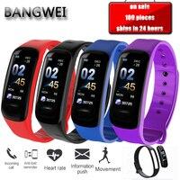 BANGWEI спортивные Смарт часы светодио дный мужчин женщин LED Цвет экран умный Браслет сердечного ритма мониторы будильник вибрации Сидячий нап
