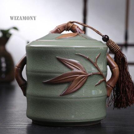 Bambou offre spéciale Top qualité craquelé glaçure Longquan Celadon céramique capacité écologique thé Caddy thé bidon thé porcelaine pot