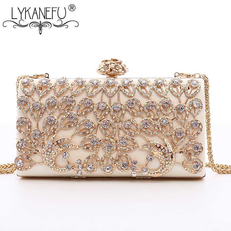 e9a9d78f66a3 LYKANEFU Роскошные выдалбливают Цветок Для женщин бриллианты вечерние сумки  женские Ежедневные клатчи цепи плечо сумки вечерние
