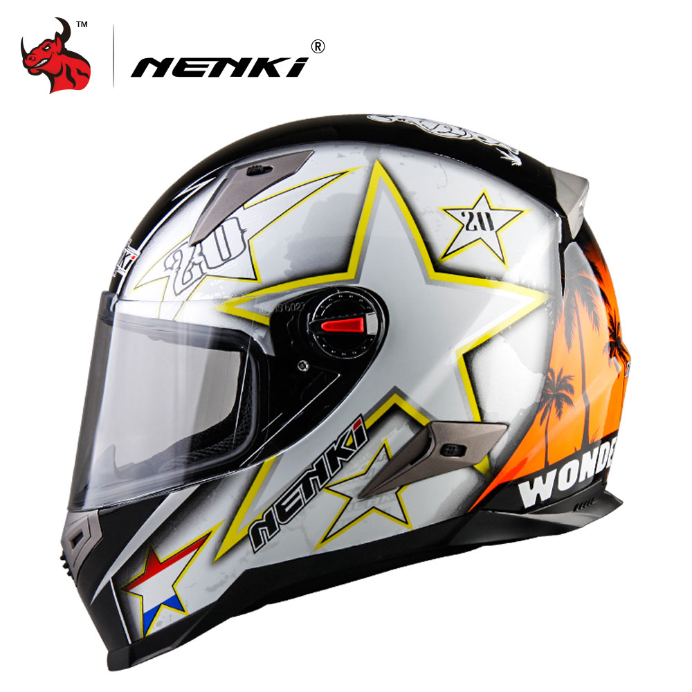 NENKI Motorcycle Helmets With ECE Certification Motocross Racing Helmet Motorbike Full Face Helmet Capacete De Moto nenki motorcycle helmets motocross racing helmet motorbike full face helmet capacete de moto for men and women 13 color