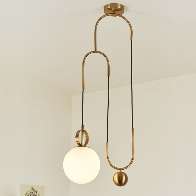 Modern Copper Pendant Lights Fixtures White Gl Lampshade Hanging Lamp Kitchen Dining Room Decor Home Lighting Re E27