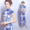 Blue white cheongsam with split east china women slim elegant dresses big size summer xxxl new arrival