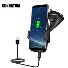 Qi Wireless Car Charger Phone Mount Holder Fast Charging For Samsung Galaxy Note 5 S6 S7 S8 Edge Plus iPhone 8 X