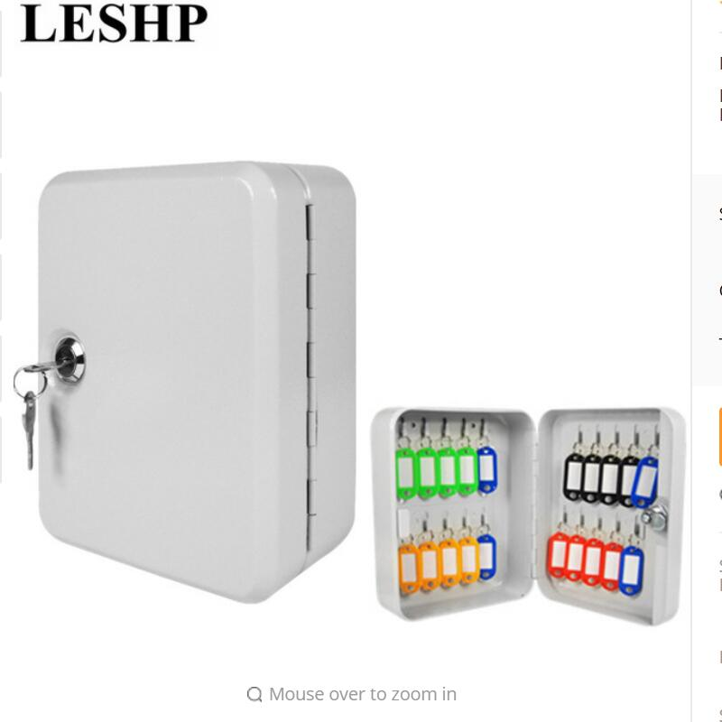 LESHP Key Cabinet Box 20 Tags Fobs wall Mounted Lockable Security Metal cupboard Safe for Home Property Management Company 66002 best price best promotion stainless steel petty cash money box security lock lockable metal safe small fit for home office