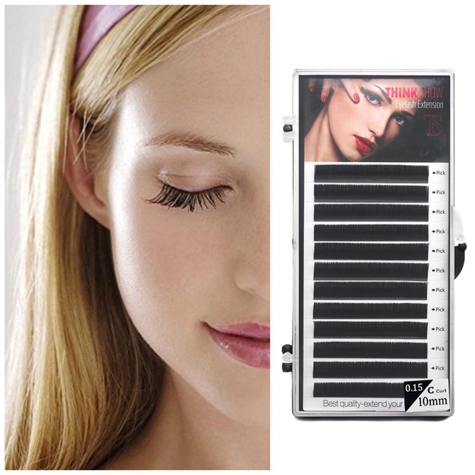 Thinkshow 10 Trays/Lot Individual Silk False Eyelash Extension BCD Curl All Size Fake Eyelashes Lashes Cilios Free Shipping