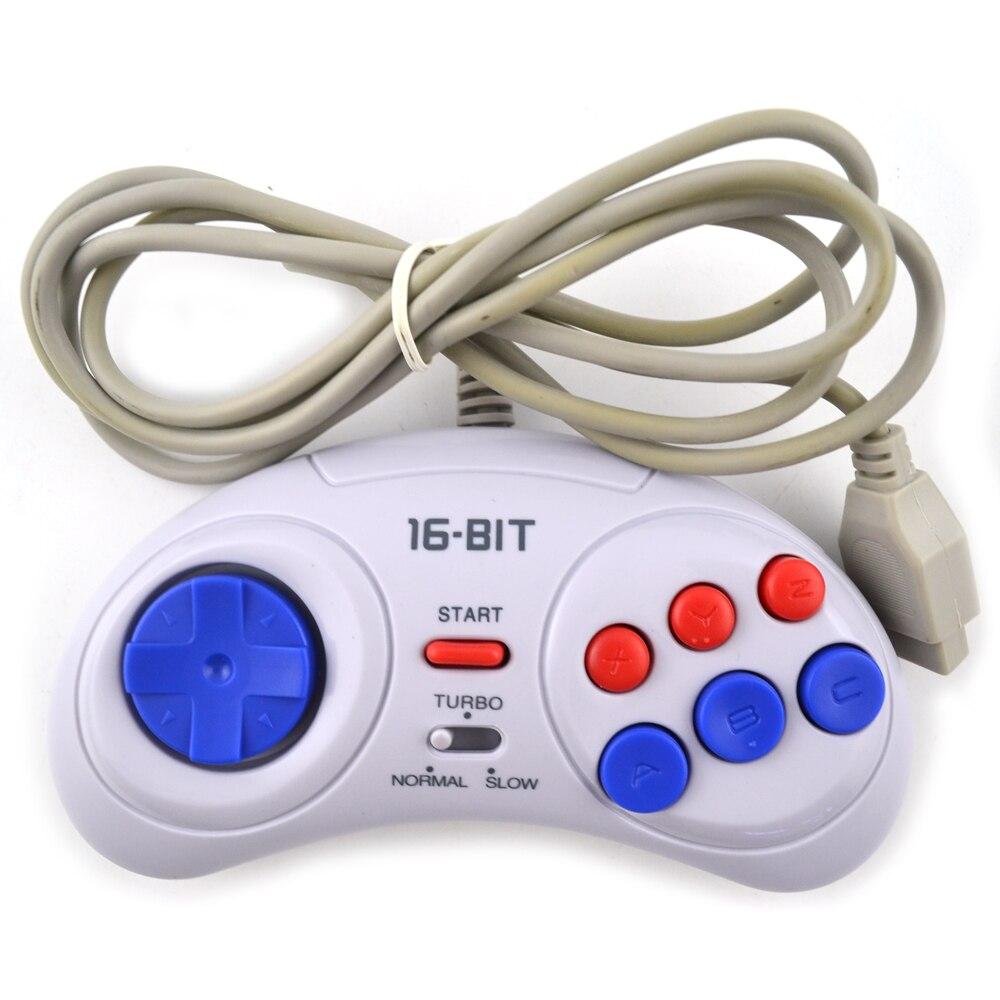 2 unids juego para Sega Genesis para 16 poco manejar GamePad para MD juego Accesorios traer Turbo y lento función