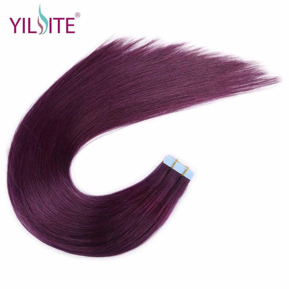 Yilite Hair 20inch 24inch Skin Weft Tape Hair Extensionpurple